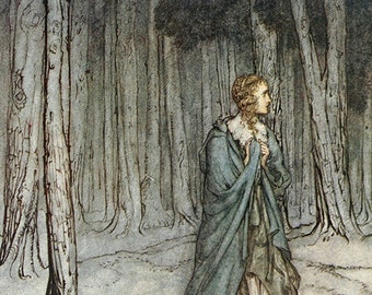 The Lady Enters,  Arthur Rackham, Vinatge Art Print