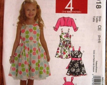 Easy to Sew Little Girls Lined, Sleeveless Dresses and Sash and Shrug Sizes 3 4 5 McCalls Pattern M6018 UNCUT