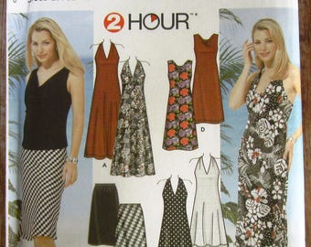 Easy to Sew Misses Knit Sleeveless Dresses or Tops and Knit or Woven Skirt sizes 12 14 16 18 Simplicity Pattern 5956 UNCUT