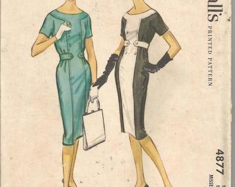 1950s Sheath Slim Dress Mondrian Color Block Cap Sleeves Belt McCall's 4877 Uncut Size 14 Bust 34 Women's Vintage Sewing Pattern