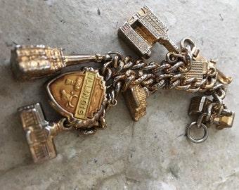 Vintage Illinois Charm Bracelet Tourism Buildings Goldtone Buildings SALE