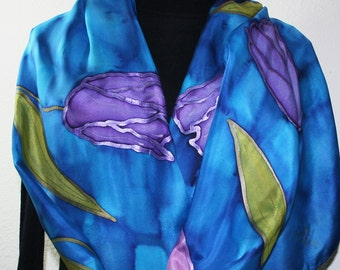 Silk Scarf Handpainted. Blue, Pink, Purple Hand Painted Shawl. Handmade Silk Wrap FROSTED TULIPS. Large 14x72. Birthday Gift. Gift Wrapped