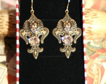 Vintage Gothic medieval bat gargoyle fleur crystal clear etruscan earrings