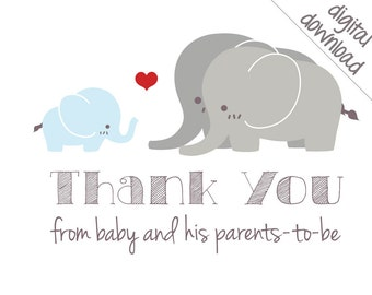 Printable Thank You Cards - Blue Elephant Baby Shower Thank-Yous - Digital Download