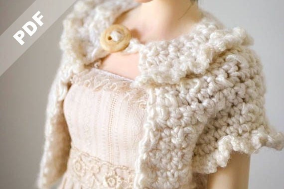 Pattern of Ruffled Crochet Sweater for MSD Kaye Wiggs, Dollstown and similar