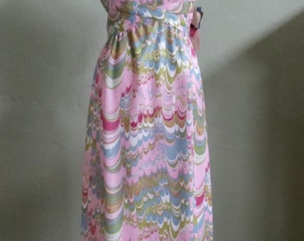 """Vintage 50's A Leslie Fay Original Maxi Sleeveless Dress Multi-Colored Abstract Pattern Bust 39"""" Waist 32"""""""