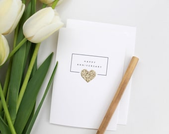 Happy Anniversary Card // anniversary card // gold heart // glitter heart // anniversary // cards with a heart / gold // wedding anniversary