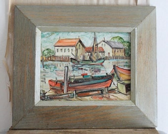 Vintage Small 1955 Mid Century Boat Painting, Seascape, Oil On Board, Impasto painting, Signed Art