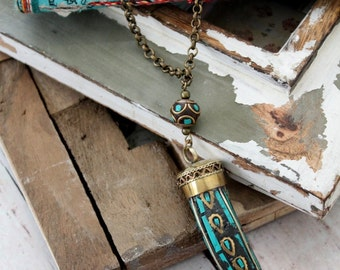 Tibetan Long layering necklace Brass Tusk/Horn pendant necklace Bohemian Gypsy Nomad style design by Inali