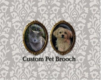 Custom Pet Portrait Brooch, Dog Portrait, Cat Portrait, Personalized, Your Pet, Pet Memorial, Dog Lover, Cat Lover, Pet Owner Gift,