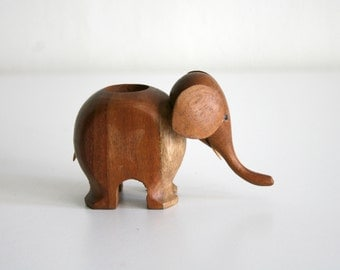 SALE Small Wooden Elephant Toothpick Holder