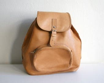 Classic Tan Leather Backpack