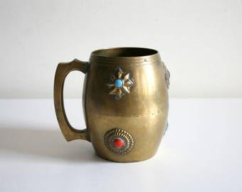 Jeweled Medallion Brass Mug