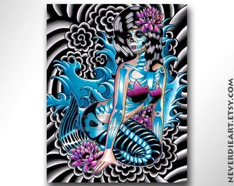 Tattoo Art Print Sirens Song Dia De Los Muertos Sugar Skull Mermaid Girl Print By Carissa Rose - 5x7, 8x10, or Apprx 11x14 Signed Print