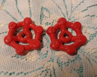 Vintage Red Iron Valve Handles - Set of Two (2) Garden Valves  -  17-312