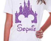 Personalized Name Disney Magic Kingdom Castle Short Sleeve White Shirt for Girls, Toddler, You Choose Color - Disney Vacation Shirt