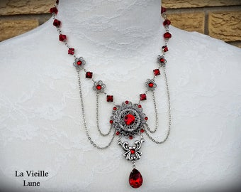 Ruby Victorian Necklace, Victorian Jewelry, Gothic Jewelry, Red Jewel Necklace