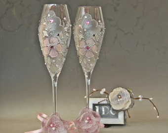 Wedding Glasses, Champagne Glasses, Pink Wedding, Spring Wedding, Hand Painted, Set of 2