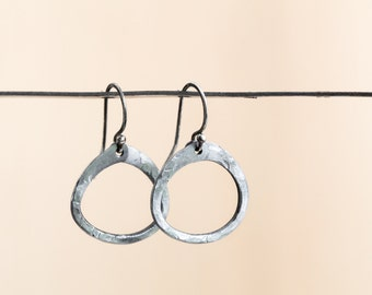 Tiny Zen Circle Iron Earrings. Minimal & rustic 6th anniversary gift of her. Hand forged and handmade to order.
