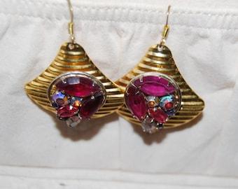 Stunning Rhinestone Earrings Vintage Pink Purples Pierced Dangles Fans Statement Aurora Borealis