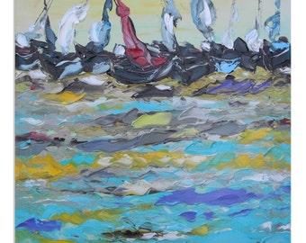 Endless wave - Original Oil Painting on Canvas Palette Knife - gallery fine art ready to hang impasto bay ship sea river yellow large boats