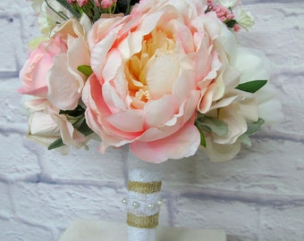 Wedding Bouquet - Blush Pink and Ivory Garden Rose Peony Wedding Bouquet