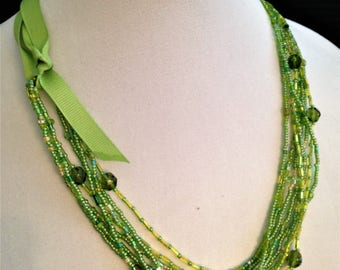 SPRING GREEN Multi Strand Versatile Necklace