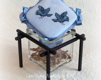 Blue Birds Cross Stitch Jar