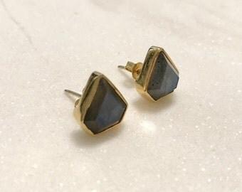 Labradorite Gemstone Stud Earrings