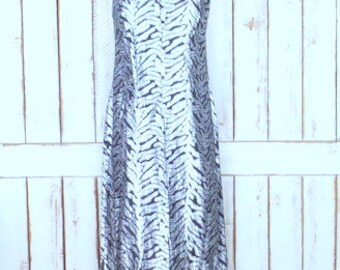 Vintage 70s black silver metallic zebra striped sleeveless column maxi dress/Malihini Hawaii Designer Collection/long hostess dress