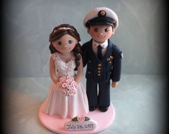 Wedding Cake Topper, Custom Wedding Topper, Bride and Groom, Coast Guard, Bride and Groom, Personalized, Polymer Clay, Keepsake