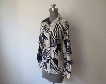Vintage '70s Geometric Abstract Navy Blue & White Print Button Down Blouse, Medium, 36 - 38 Inch Bust