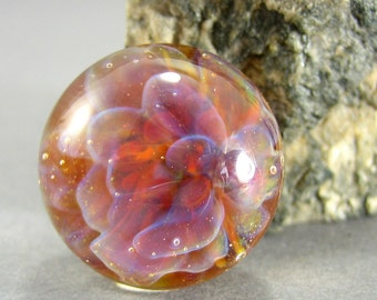 Fairy Bloom Floral Lampwork Glass Cabochon - Jewelry Making Supply - 17mm