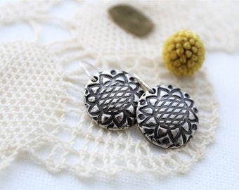 Round Silver Sunflower Earrings