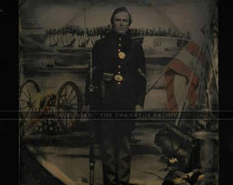 Excellent Armed Civil War Soldier - 1/6 Tintype - Tinted Flag & Camp Background