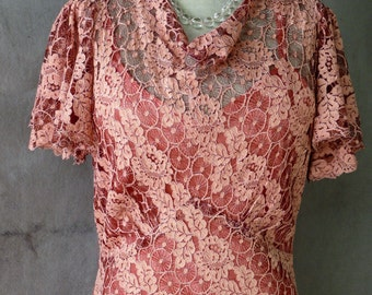 Vintage 1930's Cameo Pink Dusty Rose Lace Evening Dress with matching slip dress