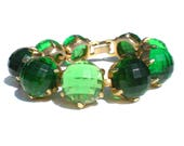 Bright Green Bracelet with Faceted Plastic Half Spheres set on Gold Tone - Vintage Jewelry