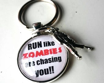 RUN like Zombies Are Chasing You' Glass Tile Key Ring - perfect gift for a walking dead and zombie fan or someone who loves to run
