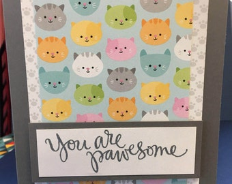 Cat Card, You Are Pawsome Card, Kitten Card, Cat Note, Feline Card
