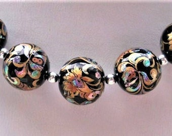 New Beautiful Set of 5 Japanese Tensha Beads Arabesk on Black 12 MM