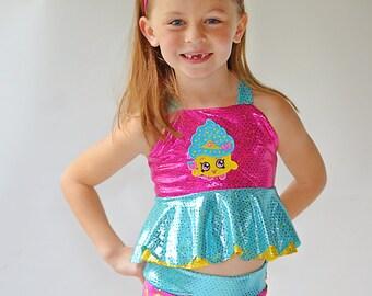 Girls Shopkins Inspired Swim Suit
