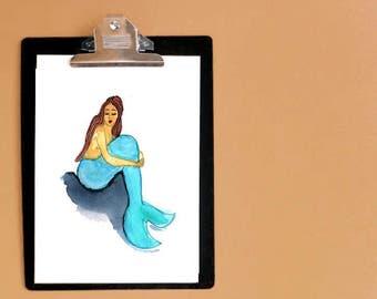 Mermaid print - Mermaid gifts - folk art mermaid - mermaid nursery art - mermaid art - gifts for a mermaid - laundry room art - bathroom art