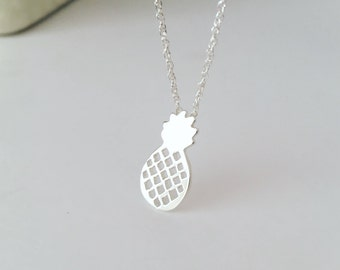 Pineapple necklace, sterling silver necklace, silver pineapple, child necklace, gift for her
