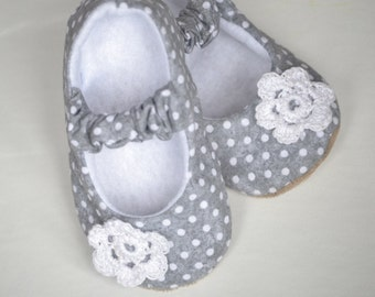 Grey and white polka dot baby girl shoes