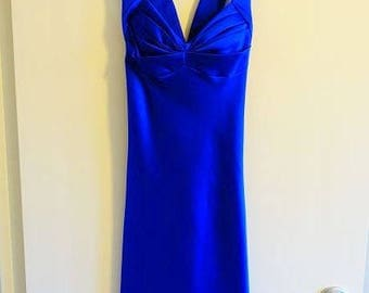 Vintage royal blue Calvin Klein Size 4 cocktail dress, ballroom colbalt blue knee length satin dress
