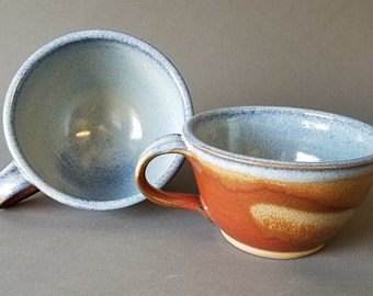 Set of 2 Deep Sides Chowder Bowls Soup Cereal Handles Rustic Iron Red Blue Jean