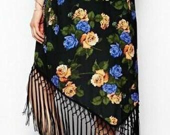 Full Length Black Fringe Tassel Floral Kimono Robe Cover Up Flapper