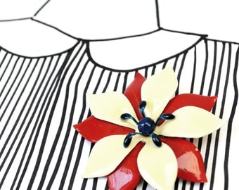 Vintage Enamel Flower Brooch - Red Blue Cream