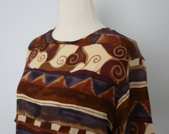 Vintage Shirt / 90's Silk Blouse / Boxy Shell / Medium / Geometric graphic tribal print