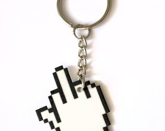 8 Bit Middle Finger Cursor Keychain